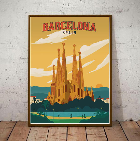 Art Deco Barcelona Spain Gaudi Travel Poster