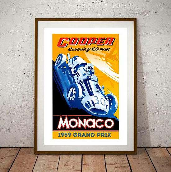 Art Deco Monaco Grand Prix 1959 Cooper Coventry Climax Poster