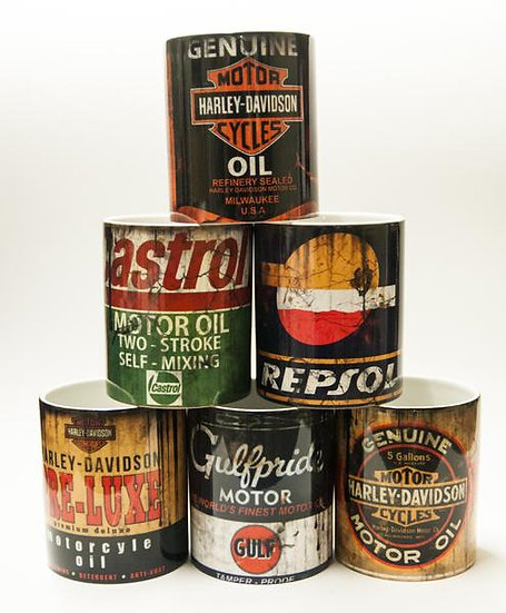 6 pack Harley x3, Castrol, Repsol,Gulf Pride Oil, Mud and Racing 11oz