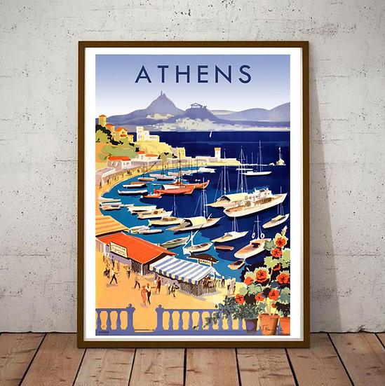 Art Deco Athens Tourism Poster