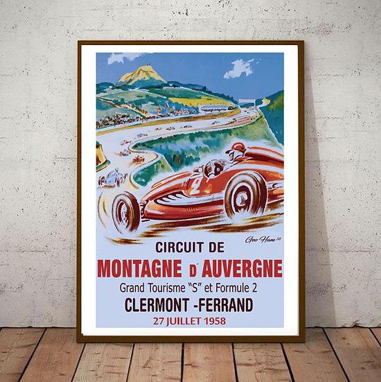 Art Deco Montagne D'Auvergne 1958 Grand Prix Poster