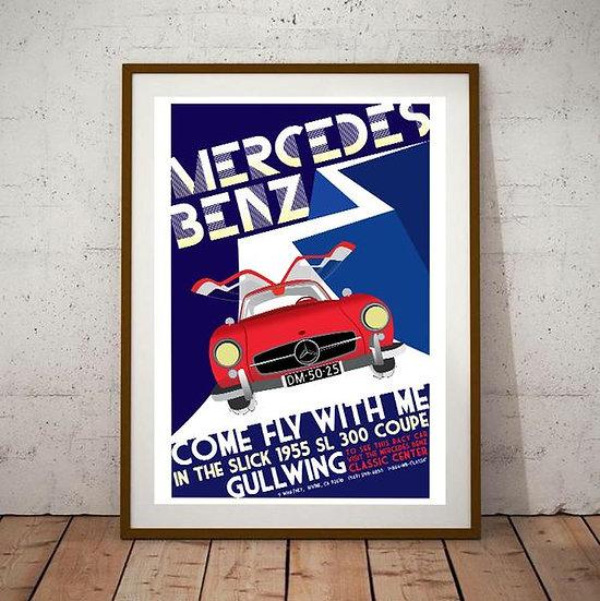 Art Deco Mercedes Benz Gullwing SL300 1955 Poster