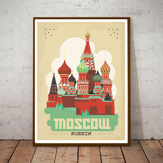 Art Deco Moscow Russia  Travel Poster