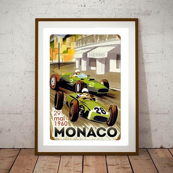 Art Deco Monaco 1960 Grand Prix Poster