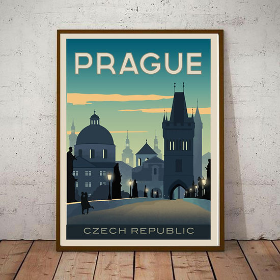 Art Deco Prague Czechoslovakia Travel Poster