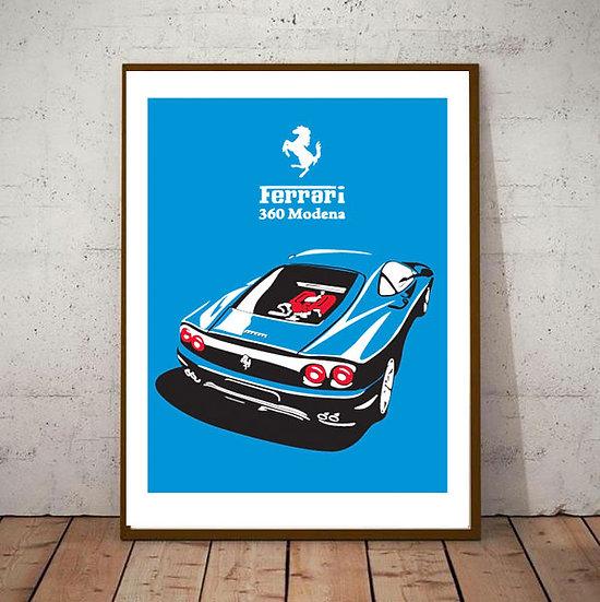 Art Deco Poster Ferrari 360 Modena