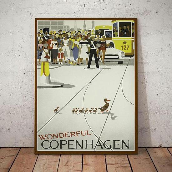 Art Deco Wonderful Copenhagen Denmark Travel Poster