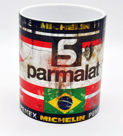 Parmalat 5 Nelson Piquet Oil, Mud and Racing 11oz Mug