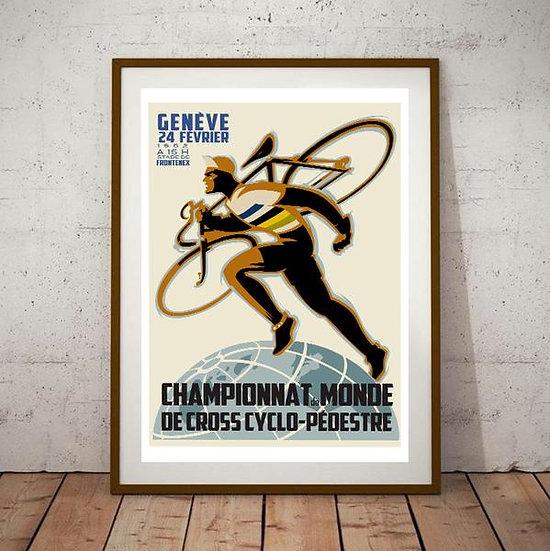 Art Deco Geneve 1952 Championnat de Monde Cross Cyclo Poster