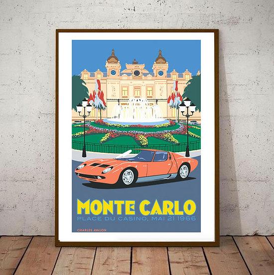 Art Deco Poster Montecarlo Casino 1966 Lamborghini Miura