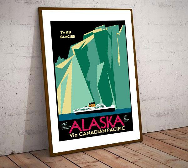 Art Deco Alaska Taku Glacier via Canadian Pacific Travel Poster