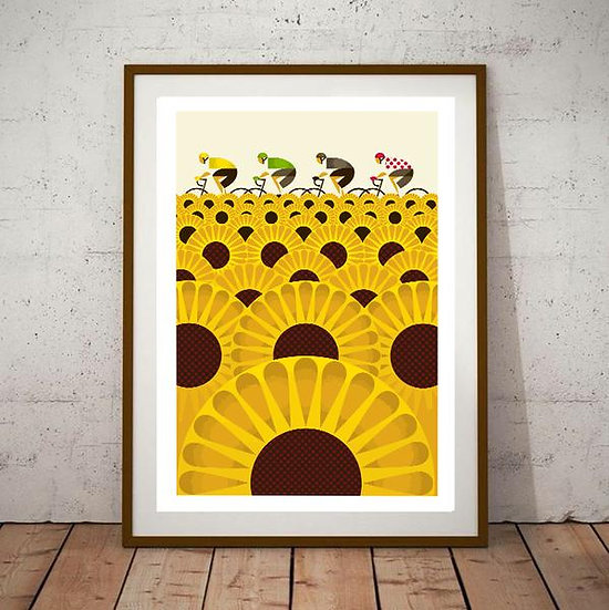 Art Deco Tour De France Cycling Sunflower Travel Poster