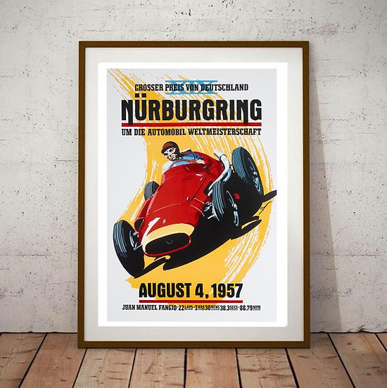 Art Deco Nurburgring 1957 Grand Prix Poster