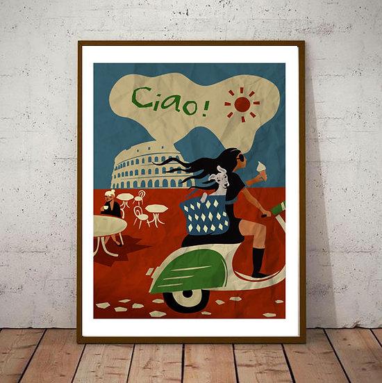 Art Deco Rome Ciao Travel Poster