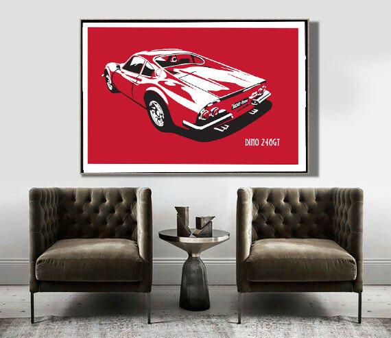 Art Deco Poster Ferrari Dino 246GT