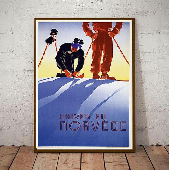 Art Deco L'Hiver En Norvege Ski Poster