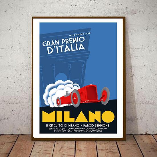 Art Deco Poster Milano Italia Grand Prix 1937