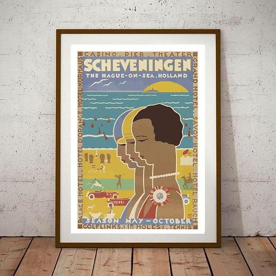 Art Deco Scheveningen Hague on Sea Holland Travel Poster