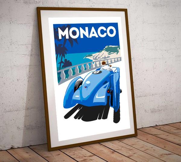 Art Deco Monaco Blue Bugatti Grand Prix Poster
