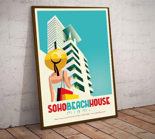 Art Deco Miami USA Soho Beach House Travel Poster