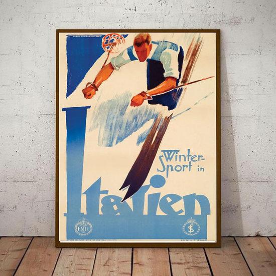 Art Deco Winter Sports Italien Ski Poster
