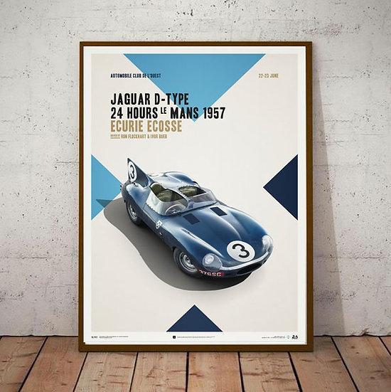 Art Deco D Type Le Mans 1957 Ecurie Ecosse  Poster