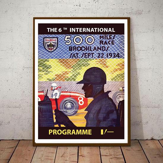 Art Deco 500 miles Brooklands Race 1934 Poster