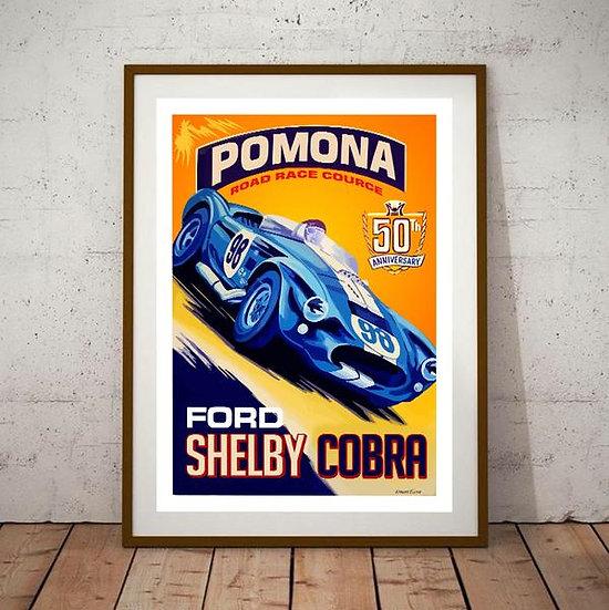 Art Deco Pomona 50th Anniversary Ford Shelby Cobra Poster