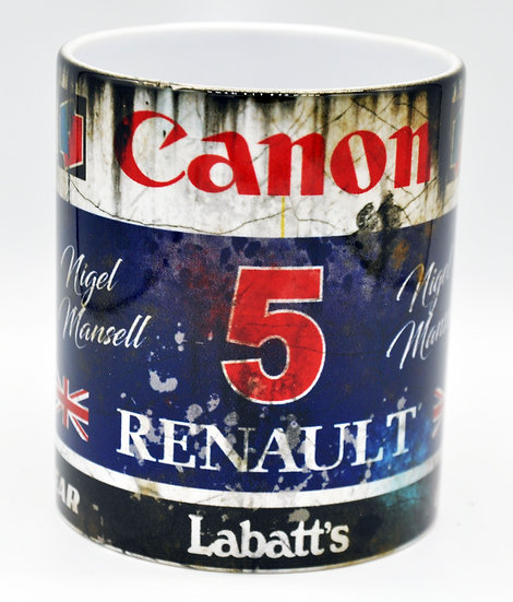 Nigel Mansell Renault 5 Oil, Mud and Racing 11oz Mug