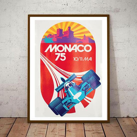 Art Deco Monaco 1975 Grand Prix Poster