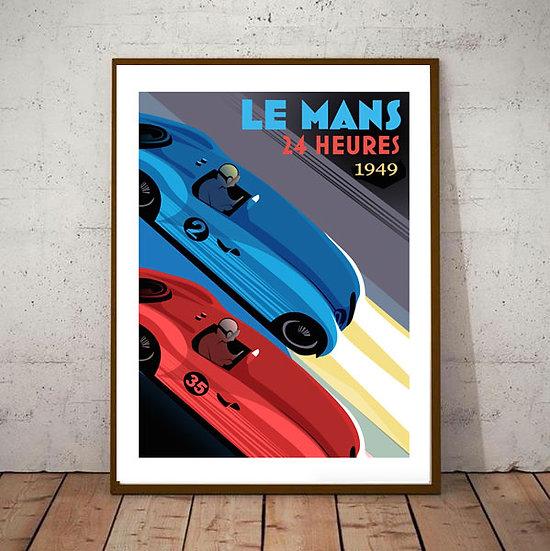 Art Deco  24hrs Le Mans 1949  Poster