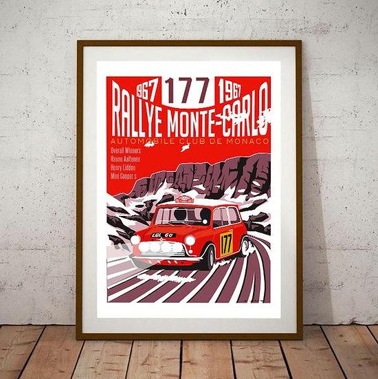 Art Deco Montecarlo Rallye Mini 177 1967 Poster