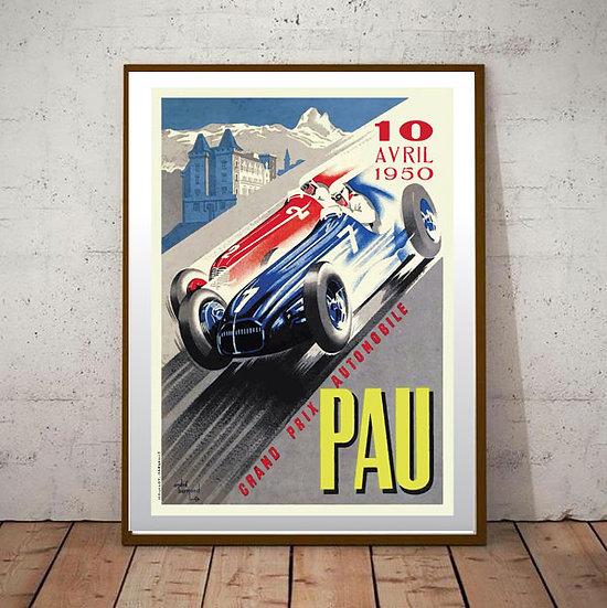 Art Deco Pau Grand Prix 1950 Poster