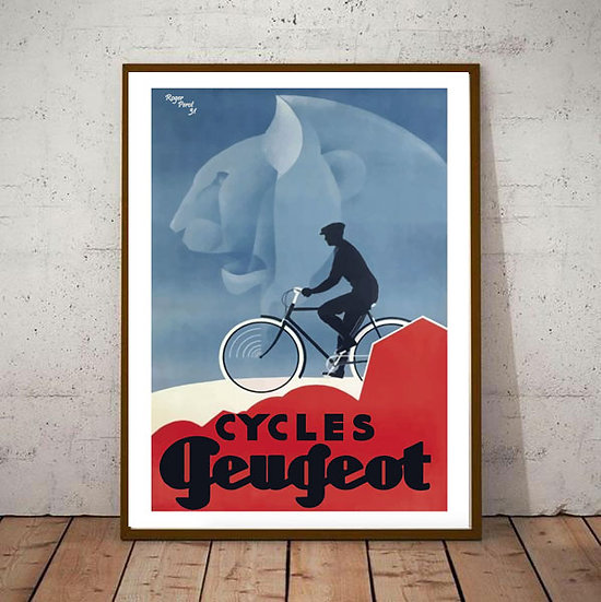 Art Deco Peugeot Cycle 1931 Poster