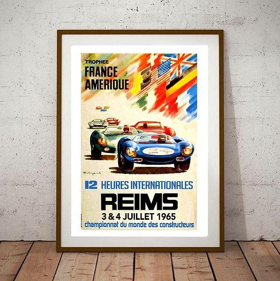 Art Deco 12 Heures Internationales Reims 1965 Poster
