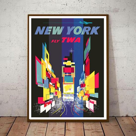 Art Deco New York USA Fly TWA  Travel Poster