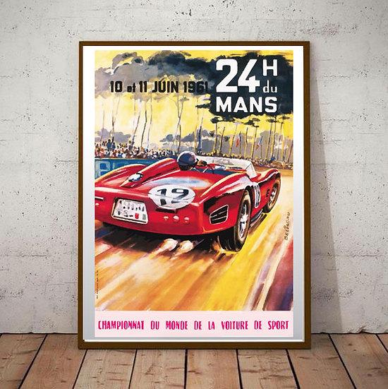 Art Deco Poster Le Mans 24hrs 1961 Racing
