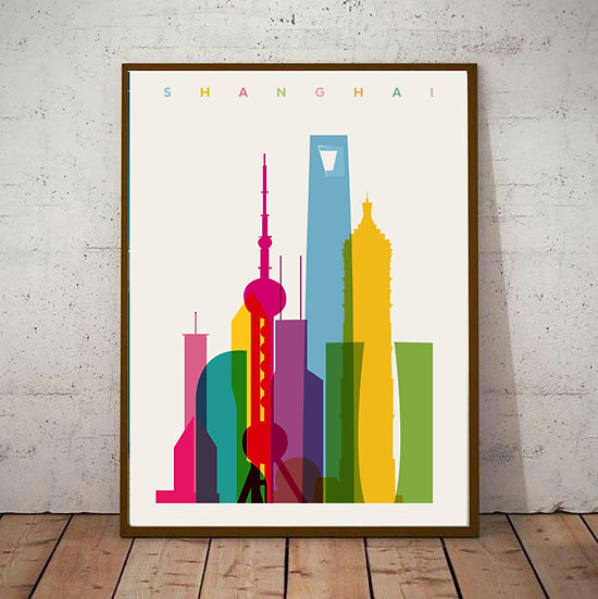 Art Deco Shanghai China Travel Poster