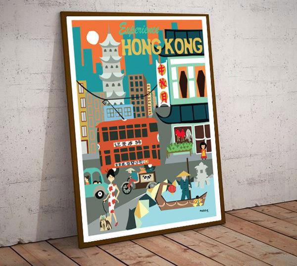 Art Deco Experience Hong Kong China  Travel Poster