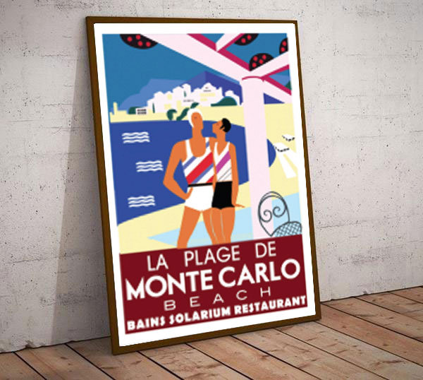 Art Deco La Plage De Montecarlo Beach France  Travel Poster