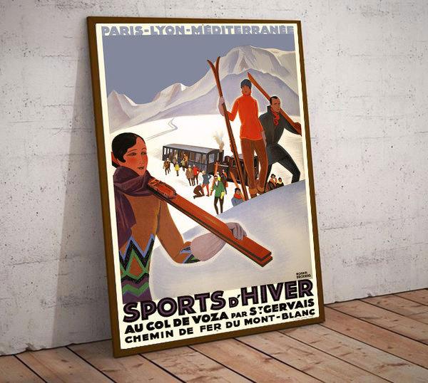 Art Deco Paris Lyon Mediterranee Sports d'Hiver France Ski Poster