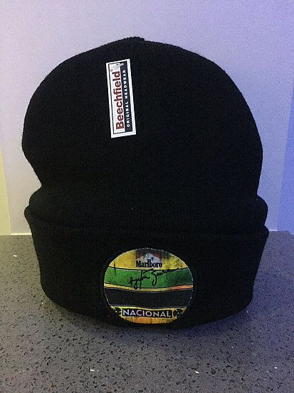 Ayrton Senna Marlboro Nacional F1 Retro Black Beanie Warm Hat -One Size fits all