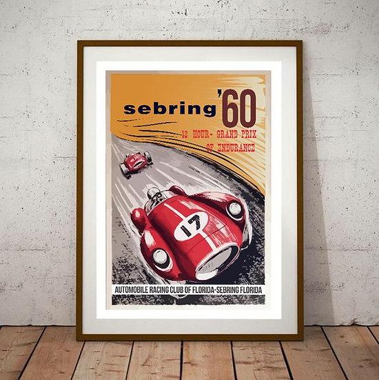 Art Deco Sebring Florida 1960 Poster