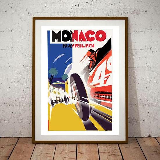 Art Deco Monaco Grand Prix 1931 Poster