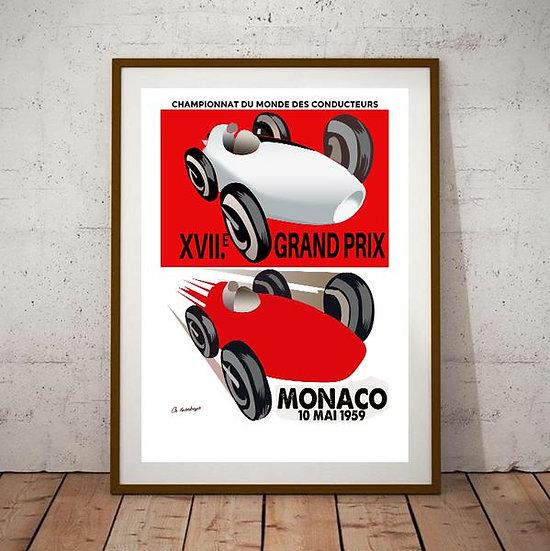 Art Deco Monaco 1959 Grand Prix Poster