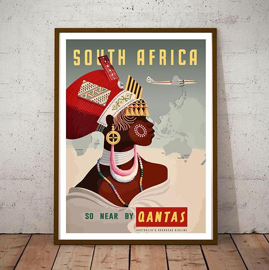 Art Deco South Africa Fly Quantas Tourism Poster
