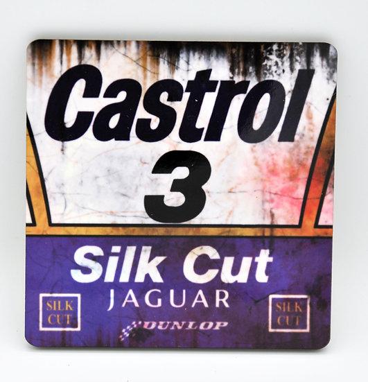 Jaguar Silkcut Castrol 3  Oil, Mud and Racing Coaster - Cork Backed