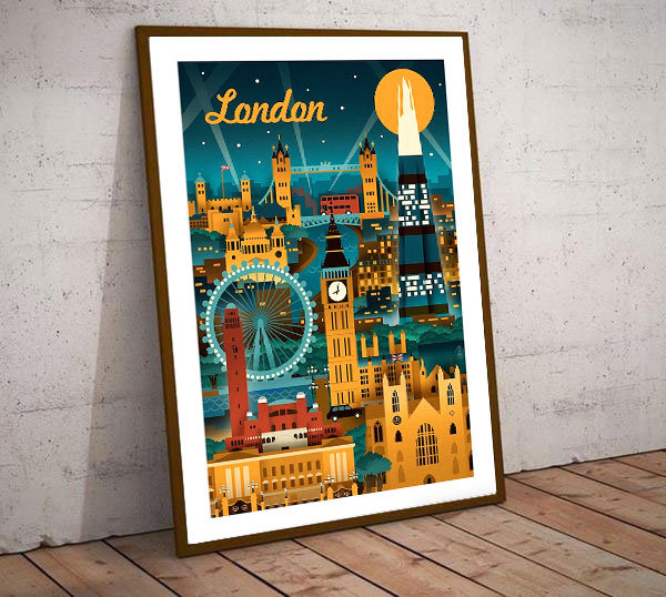 Art Deco London Cityscene 2  Poster