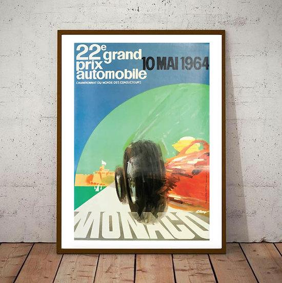 Art Deco Monaco 1964 Grand Prix Poster
