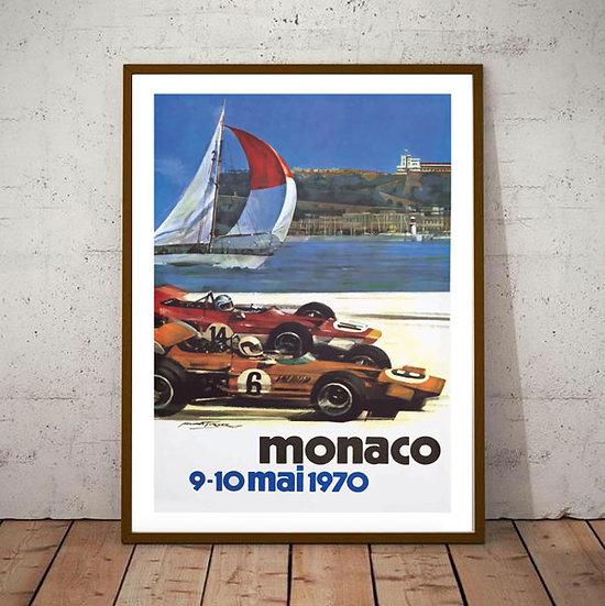 Art Deco Monaco 1970 Grand Prix Poster